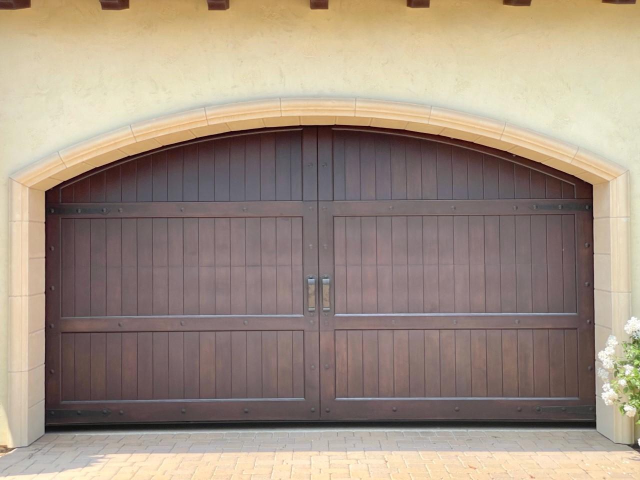 Excellent-front-garage-wood-finish